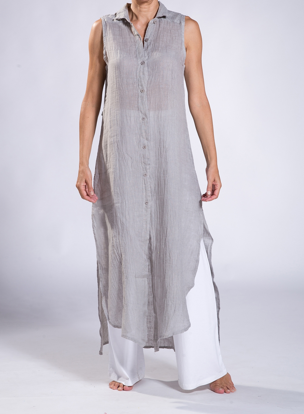 Dress Semizie Summer Sleeveless 100 Linen Gauze Join