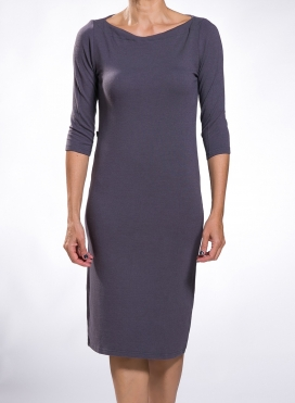 Dress Boatneck midi 3/4 sleeves wool/viscose