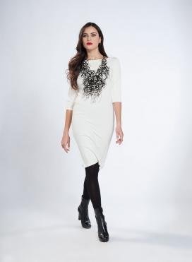Φόρεμα Boatneck Midi 3/4 Μανίκια Wool Viscose