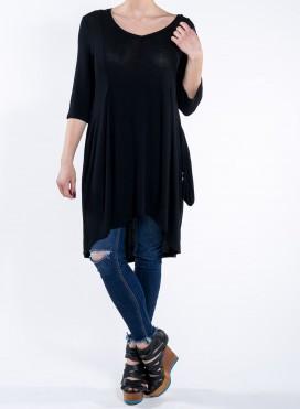 Μπλούζα Inverted Pleats 3/4 Μανίκι Τσέπη Τούλι