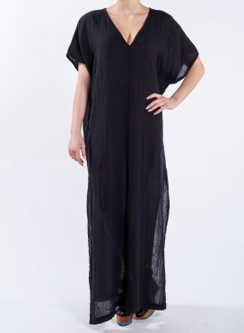 Dress V neck Slits Maxi Nature