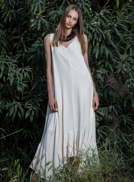 Φόρεμα Volan Χωρίς Μανίκι Maxi 100% Tencel