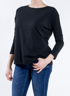 Blouse W Organic Drop Shoulder Long Sleeve