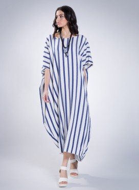 Dress Square Loom 100% Cotton Navy Stripes