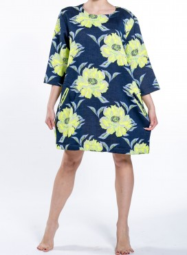 Dress Eve Big Flower Print 3/4 Sleeve