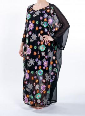 Καφτανι Τετραγωνο Rombus Flowers Embroidery