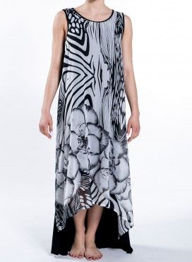 Φορεμα High Low Double Print Maxi Sleeveless 50/50