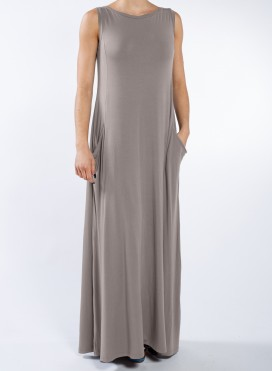 Φόρεμα Pockets Boatneck sleeveless maxi ελαστικό