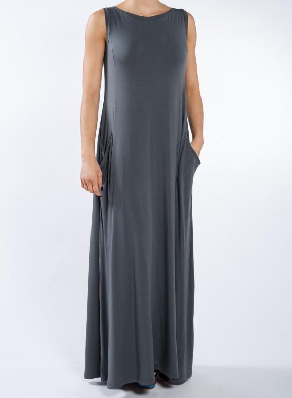 Φόρεμα Pockets Boatneck sleeveless maxi ελαστικό