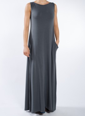 Dress Pockets Boatneck sleeveless maxi elastic