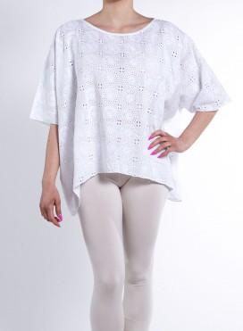 Μπλουζα Τετραγωνη Full White Embroidery