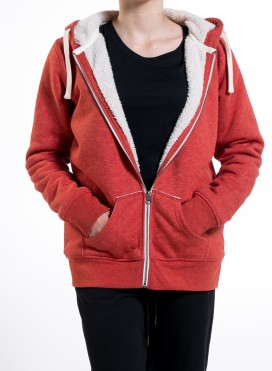 Jacket W Zipped Hoody With Sherpa Organic