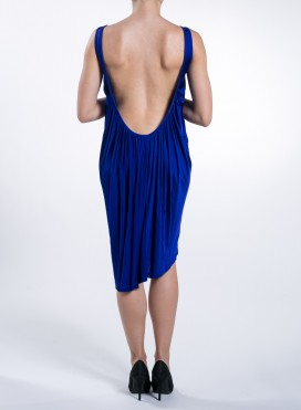 Dress Flash Drape Backless Blue Royal