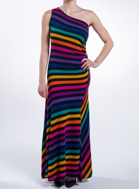 Dress One Shoulder Multicolor Knitted