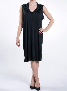 Φορεμα Round Neck Drape Flash Black