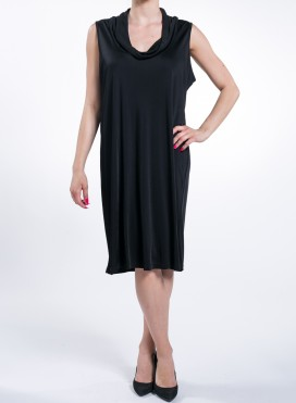 Dress Round Neck Drape Flash Black