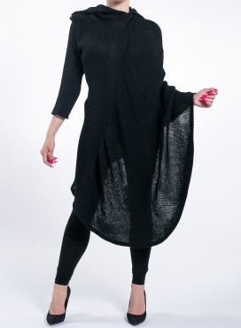 Φορεμα Knitted Collar Asymmetric Black