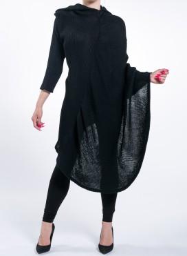 Dress Knitted Collar Asymmetric Black