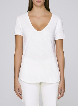 Blouse W Organic Raw Edge V Neck