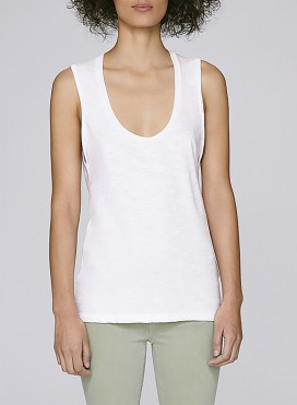 Tank Top W Organic Rolled Up Sleevless