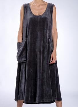Dress 2 Pockets Maxi Sleeveless Velour