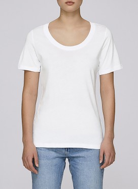 Blouse W Wide Round Neck T-Shirt Organic