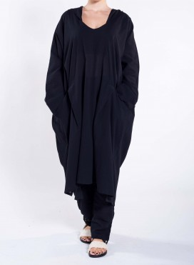 Kaftan Hood Pockets Longsleeve Crincled Cotton