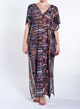 Dress V Slit Disco Print