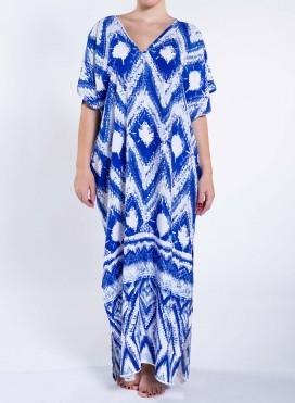 Dress V Slit Blue Print