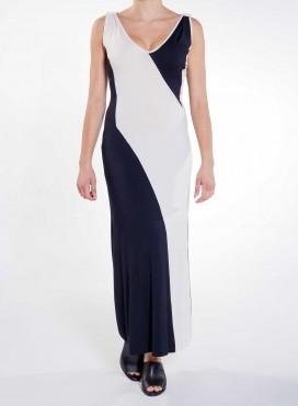 Dress Patchwork V Maxi Elastic
