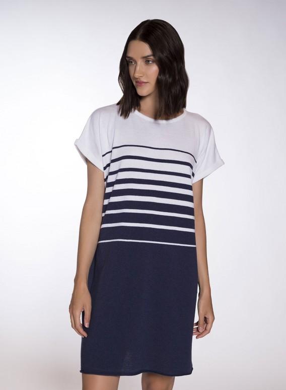 Φόρεμα Degrade Mariniere Shortsleeve Midi