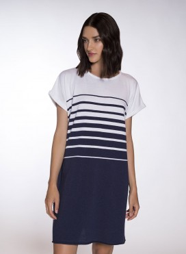 Dress Degrade Mariniere Shortsleeve Midi