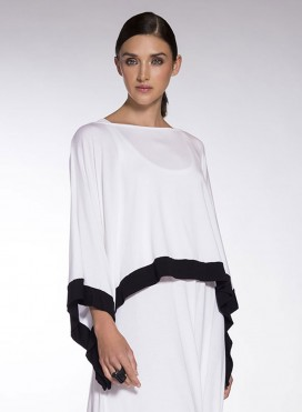 Blouse Poncho Short Trim Elastic