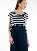 Top Asymmetric Short Sleeves Stripes 100% Viscose
