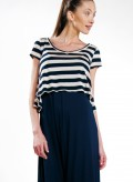 Top Asymmetric Short Sleeves Stripes 100% viscoze