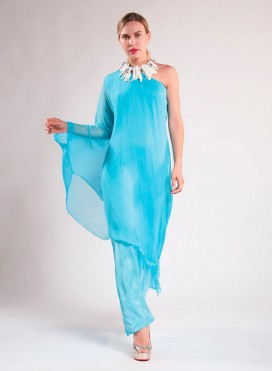 Dress 1 shoulder satin/chiffon 100% silk