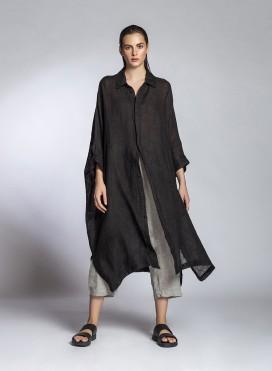 Dress Hide Buttons Midi Linen Gauze