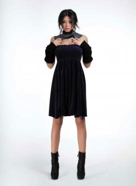 Dress Strapless Mini Velour