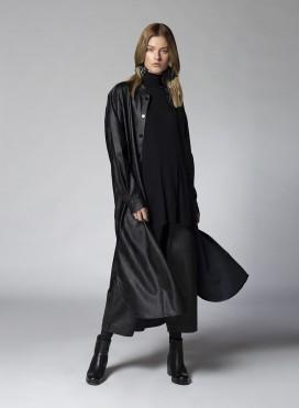 Shirt Maxi Mao Longsleeve Faux Leather
