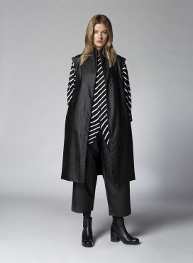 Coat Slits Sleeveless Faux Leather