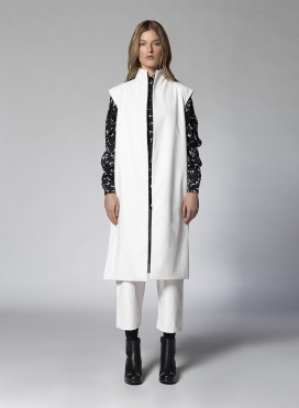 Coat Slits Sleeveless Faux Leather