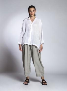 Shirt Tetragono Long Sleeve Linen Gauze