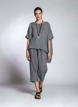 Pants Volume Cropped Linen Gauze