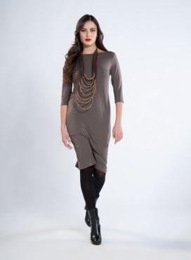 Φόρεμα Boatneck Midi 3/4 Μανίκια Ελαστικό