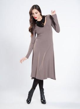 Dress Single Long Sleeves Wool Viscose