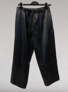 Pants volume cropped croco faux leather