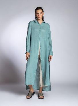 Dress Semizie Summer Longsleeves Linen Gauze