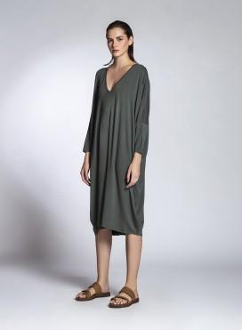 Φόρεμα V Τετράγωνο Ελαστικό Viscose Jersey
