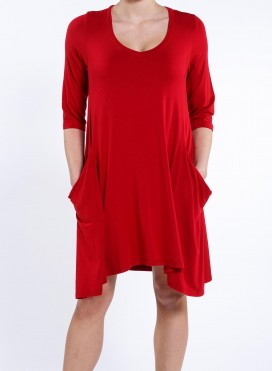 Blouse Asymmetric Pockets 3/4 sleeves elastic