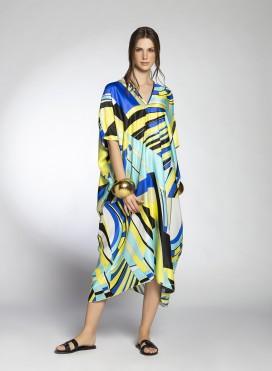 Kaftan Trigono Silk/Visc Print